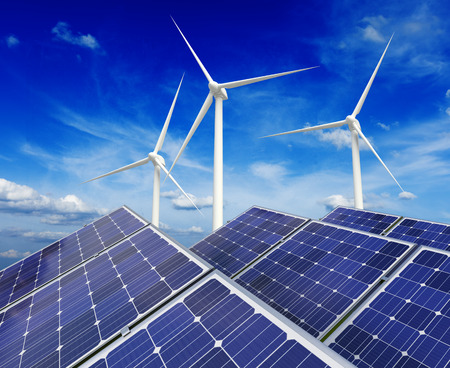 wind mill: Solar battery panels and wind generators