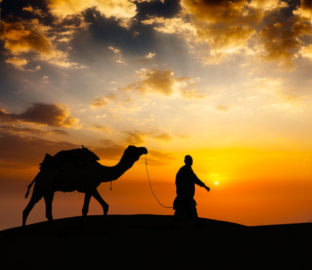 camel silhouette: Cameleer camel driver with camels in desert dunes Stock Photo
