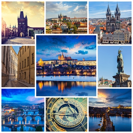 storyboard: Mosaic collage storyboard of Prague images