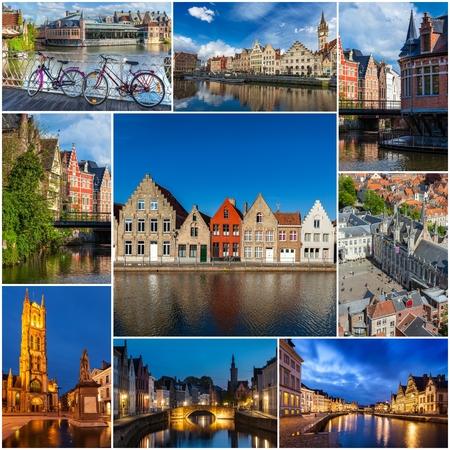 Mosaic collage storyboard of Belgium images Stock Photo