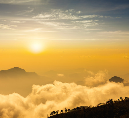 colour intensity: Mountains in clouds. Kodaikanal, Tamil Nadu