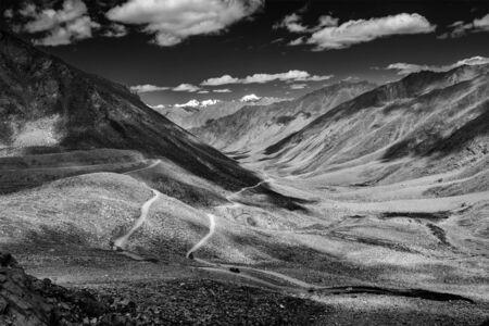 unsurfaced road: Himalayan landscape with road, Ladakh, India