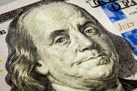 benjamin: Benjamin Franklin portrait macro shot of 100 bill Stock Photo