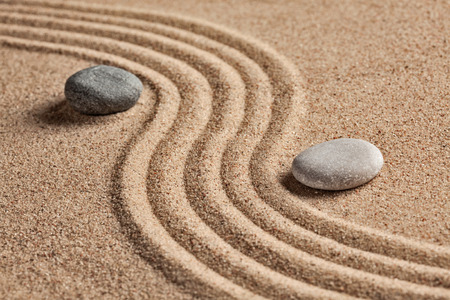 sand art: Japanese Zen stone garden