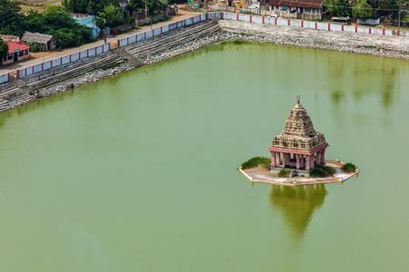 pallava: Temple Tank with mandapa of Lord Bhakthavatsaleswarar Temple. Built by Pallava kings in 6th century. Thirukalukundram Thirukkazhukundram, near Chengalpet. Tamil Nadu, India