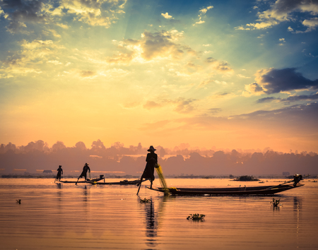 inle: Traditional Burmese fishermen at Inle lake Myanmar Stock Photo