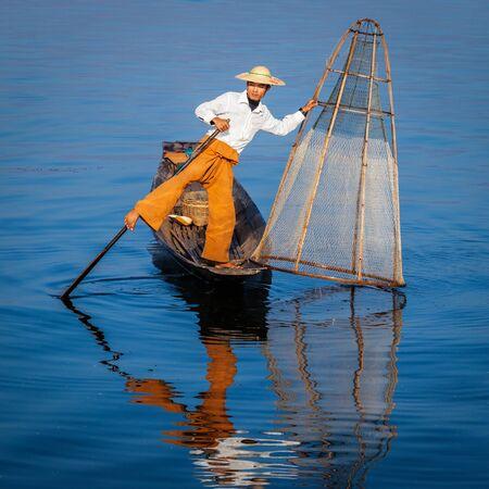 inle: Burmese fisherman at Inle lake, Myanmar