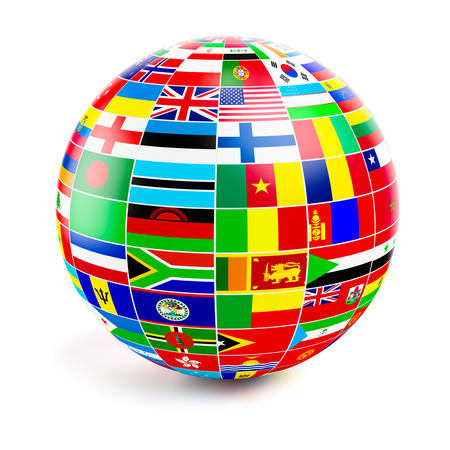 negocios internacionales: Globo 3d esfera con las banderas del mundo en blanco