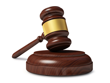 solicitor: Wooden judge gavel isolated