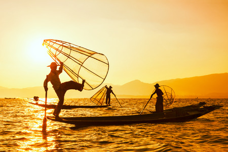 inle: Traditional Burmese fisherman at Inle lake Myanmar