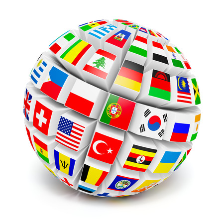 maps globes and flags: 3D globe sphere with flags of the world on white