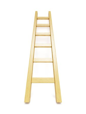 Wooden ladder near white wall photo