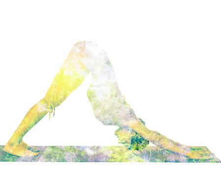 hatha: Double exposure image of woman doing yoga