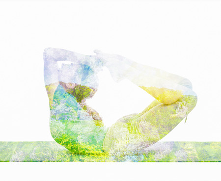 asana: Double exposure image of  woman doing yoga asana