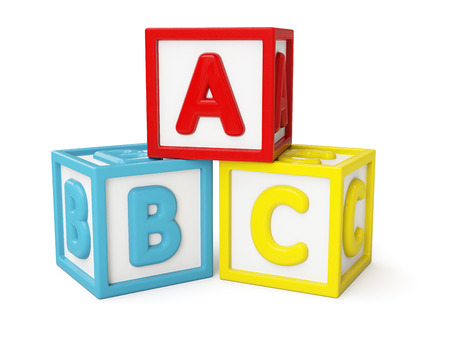 abc blocks: ABC building blocks isolated Stock Photo