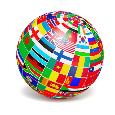 3d icons: globe sphere with flags of the world on white