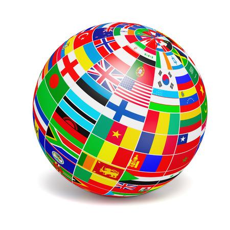 zeměkoule: zeměkoule koule s vlajkami světa na bílém Reklamní fotografie