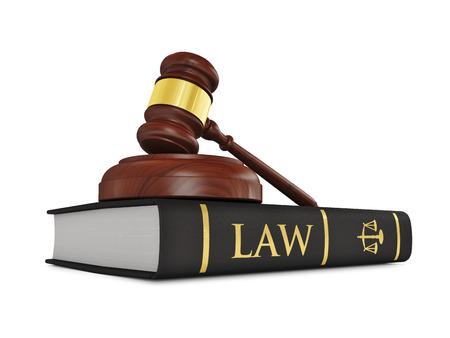 orden judicial: Martillo juez de madera en el libro de la ley Foto de archivo