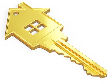 house keys: House shaped key isolated on white