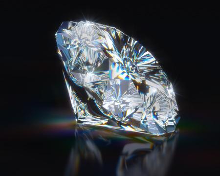 Diamant auf schwarzen reflektierenden Hintergrund Lizenzfreie Bilder