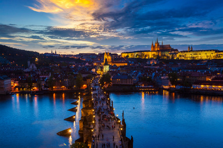 charles bridge: Night view of Prague, Charles Bridge, Vltava river