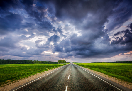 stormy: Road and stormy sky