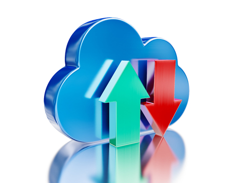 remote backup service: Blue glossy cloud and upload download arrows Stock Photo