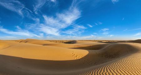 thar: Panorama of dunes in Thar Desert, Rajasthan, India