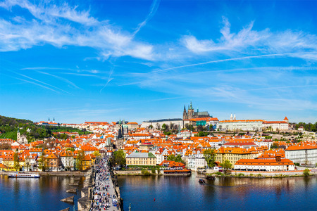prague: Charles bridge and Prague castle from Old town