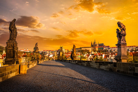 prague: Charles bridge and Prague castle on sunrise