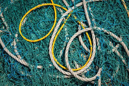 fishing net: Fishing net and ropes Stock Photo