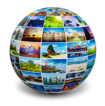 Globe mit Reise-Fotos Lizenzfreie Bilder