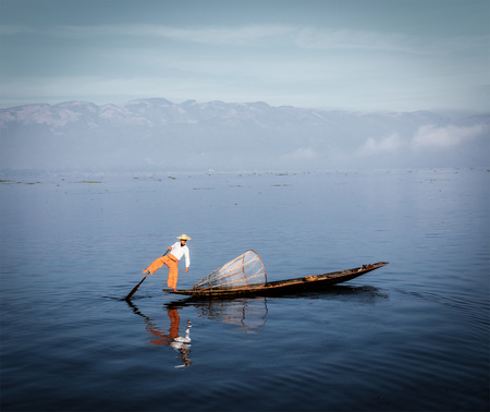 inle: Traditional Burmese fisherman at Inle lake, Myanmar