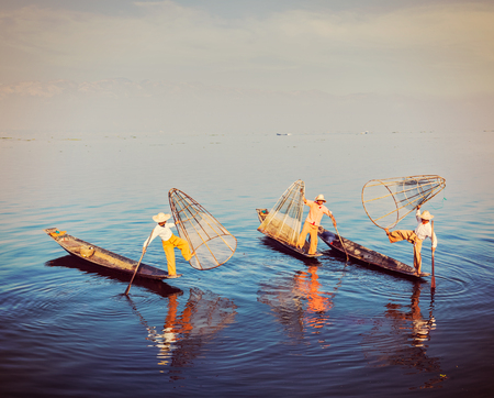 inle: Traditional Burmese fisherman at Inle lake, Myanmar