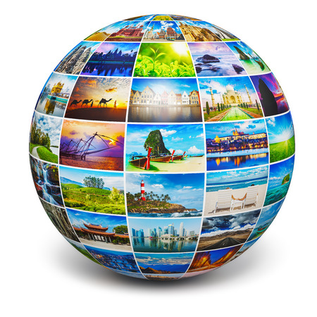 3d image: Globe with travel photos