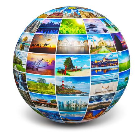 globo mundo: Globo con fotos de viajes Foto de archivo