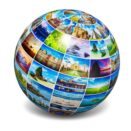 globo terraqueo: Globo con fotos de viajes Foto de archivo