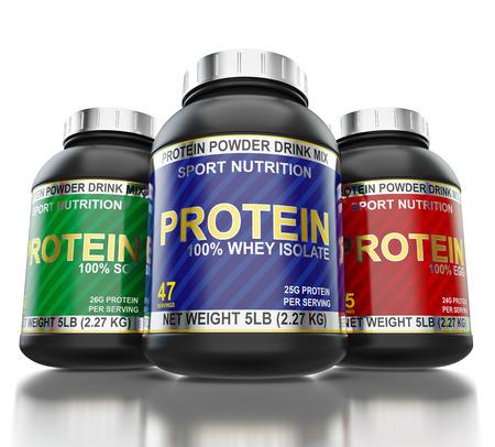 Bodybuilding eiwitsupplementen op een witte achtergrond Stockfoto