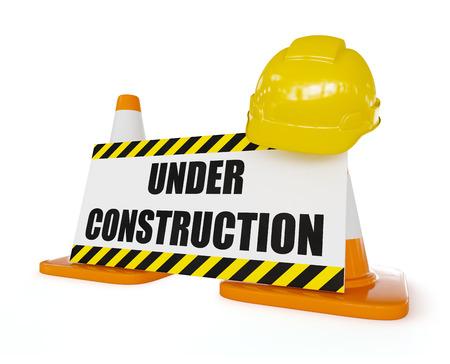 오렌지 고속도로 교통 건설 콘에 노란색 하드 모자