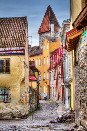 architectural heritage of the world: Tallinn Old Town street, Estonia Stock Photo