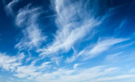 cirrus: Blue sky with white clouds Stock Photo