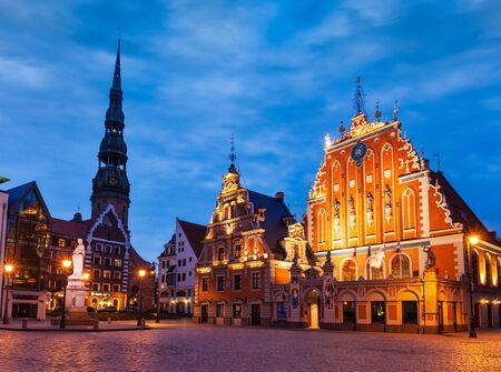 town hall square: Riga Town Hall Square, House of the Blackheads, St. Roland Statu Editorial