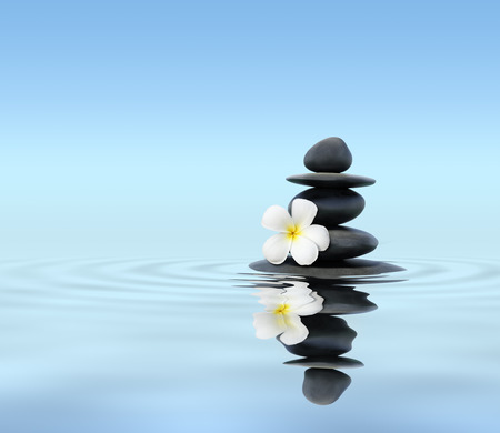 stones in water: Zen stones with frangipani Stock Photo