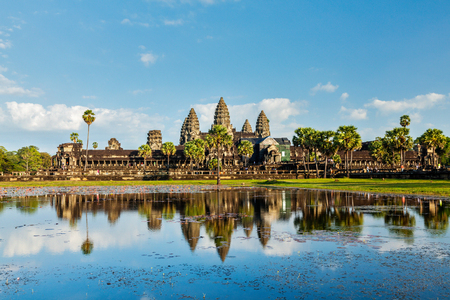 Cambodian landmark Angkor Wat with reflection. Siem Reap, Cambodia Stock Photo
