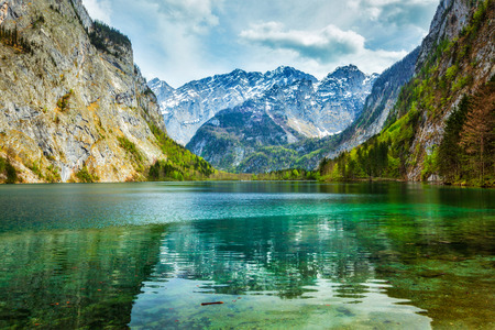 berchtesgaden: Obersee - mountain lake in Alps. Bavaria, Germany