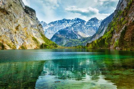 Obersee - bergmeer in Alpen. Beieren, Duitsland Stockfoto
