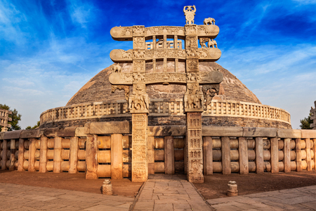 monument in india: Great Stupa - ancient Buddhist monument. Sanchi, Madhya Pradesh, India