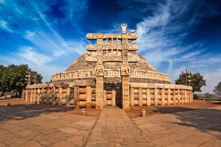 pradesh: Great Stupa - ancient Buddhist monument. Sanchi, Madhya Pradesh, India