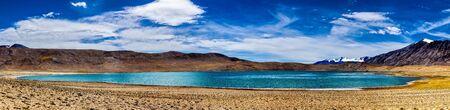 himalayas: Panorama of Himalayan lake Kyagar Tso in Himalayas, Ladakh, India Stock Photo