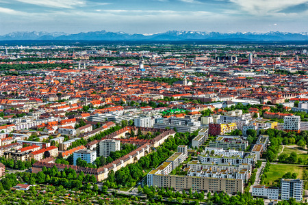 Aerial view of Munich from Olympiaturm . Munich, Bavaria, Germany
